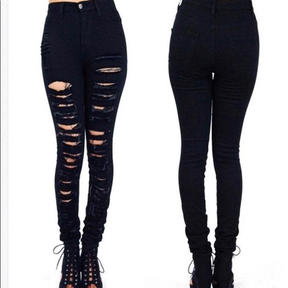 1eec9acdf1 Vibrant Denim Jeans | Vibrant Brand Denim Black Distressed Skinny ...